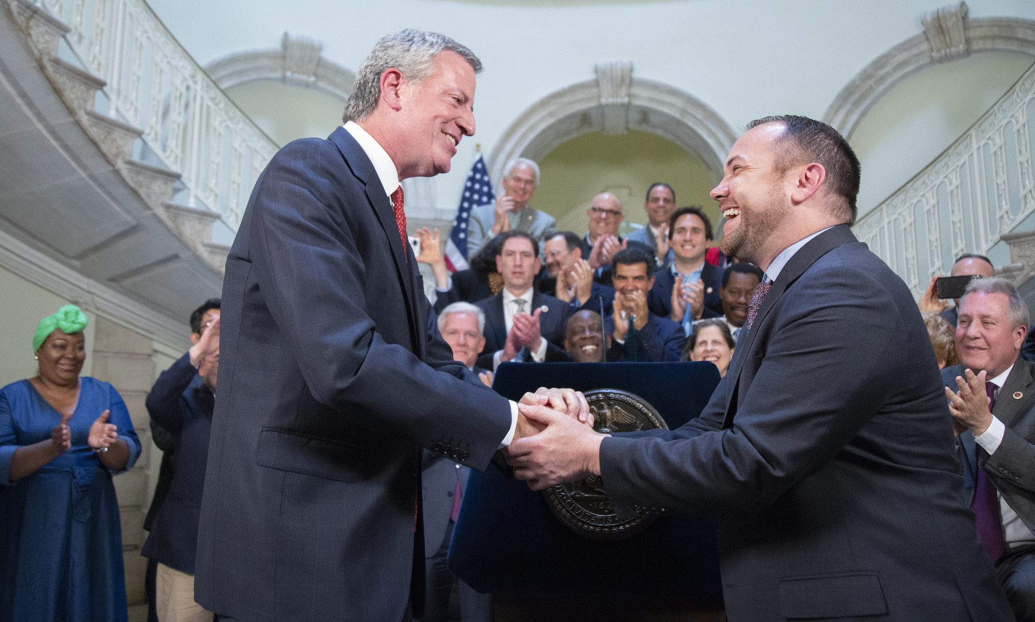 Speaker Corey Johnson and the NYC Council Join With Mayor de Blasio for Budget Handshake. Picture by John McCarten.