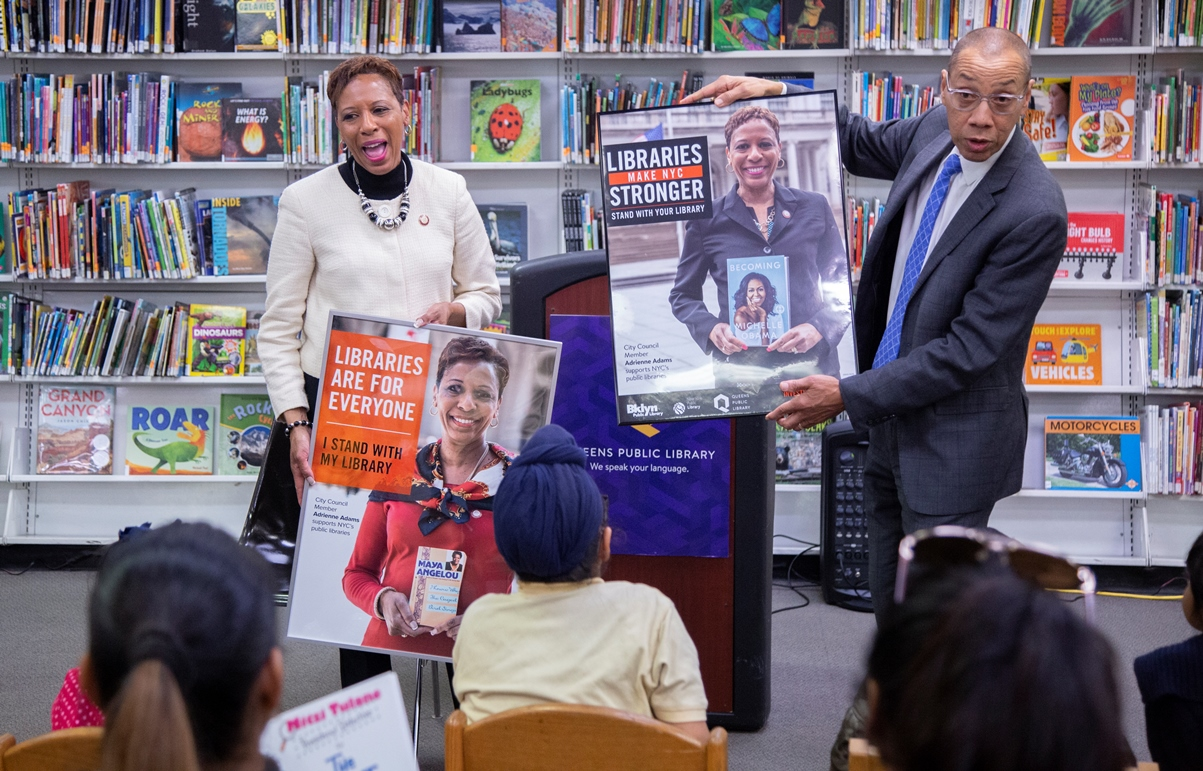 NYC Council Member Adrienne Adams and QPL President & CEO Dennis M. Walcott at South Ozone Park Library.