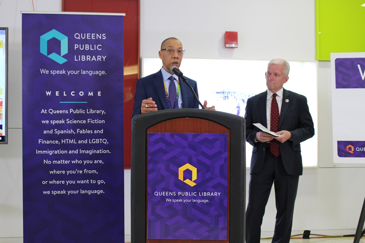 Queens Public Library President and CEO Dennis M. Walcott with New York City Council Member Jimmy Van Bramer.