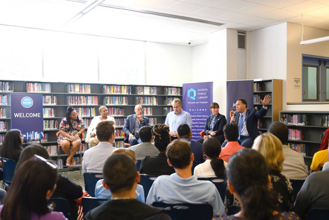 Reisha Allen, Sonia Goodman, QPL President & CEO Dennis M. Walcott, JetBlue CEO Robin Hayes, Rori Shonk and Anthony Locastro participated in a careers panel for teens and young adults.