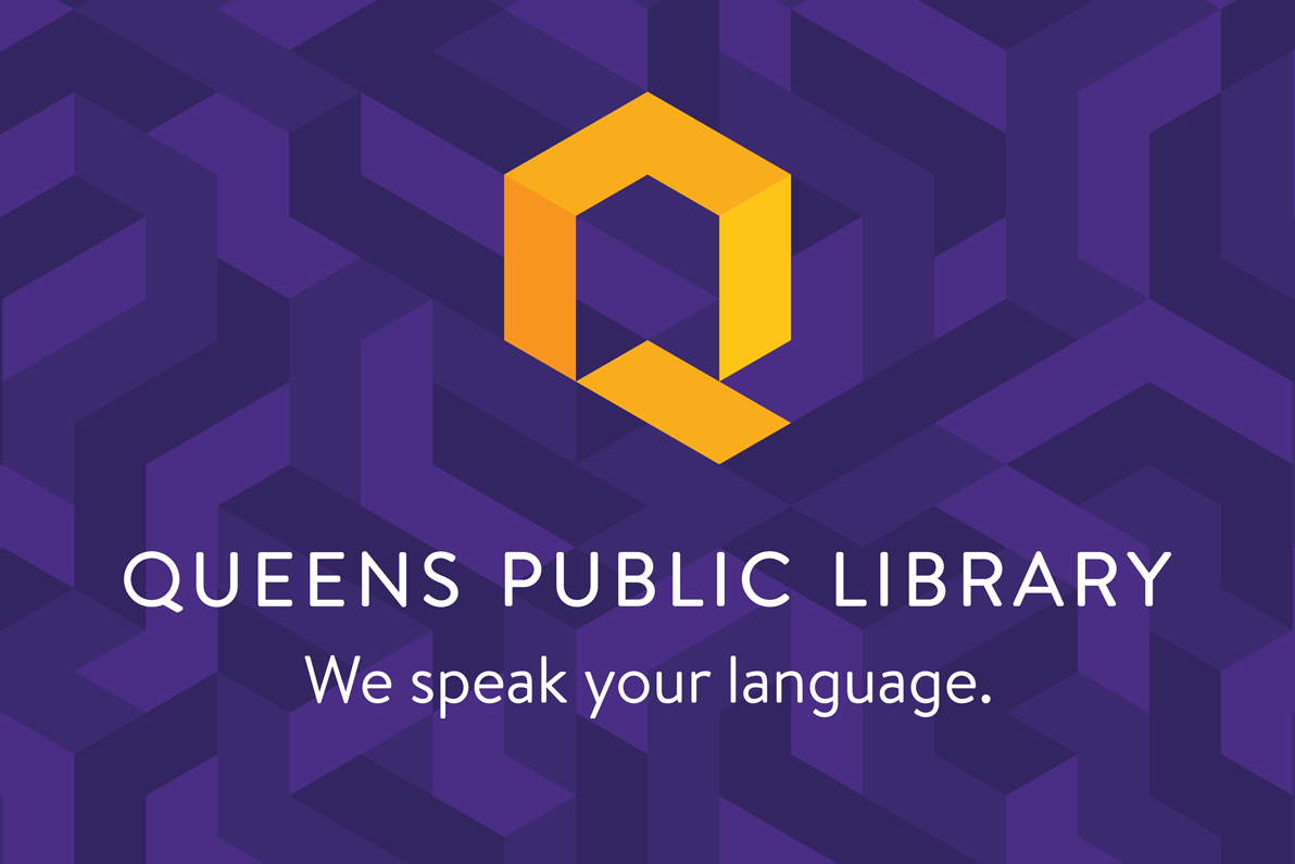 Queens Public Library's new logo and tagline.