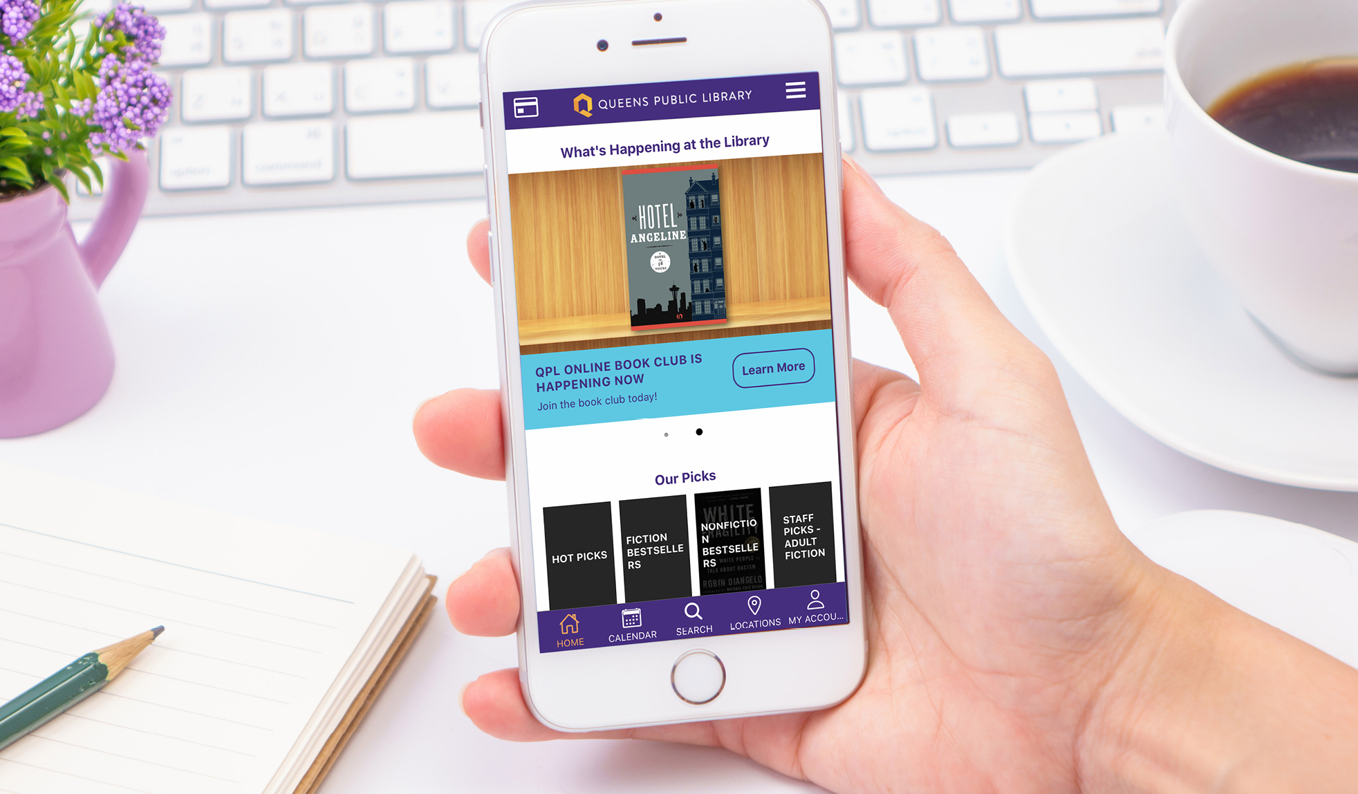 Our redesigned mobile app allows you to listen to, watch, and read content in the app.